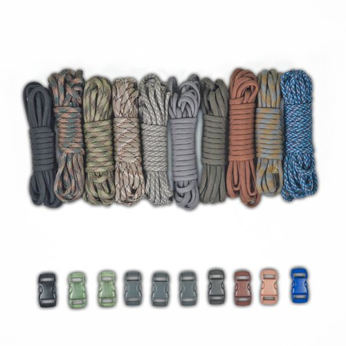 PARACORD PLANET 550lb Type III Paracord Combo Crafting Kits with Buckles (CAMOS)
