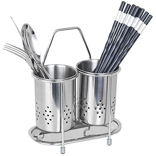 (kaileyouxiangongsi 304 Stainless Steel Hanging 2 Compartments Mesh Utensil Drying Rack/Chopsticks/Spoon/Fork/Knife Drainer Basket Flatware Storage Drainer (Round))