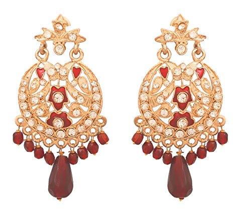 Touchstone Gold Tone Indian Bollywood Rhinestones meenakari Glass Drops/Beads Pretty Earrings for ()
