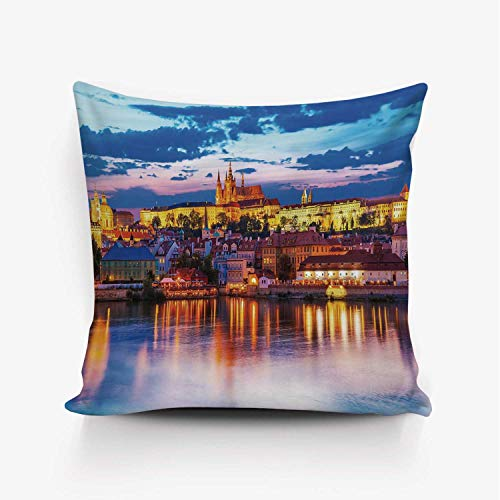 YOLIYANA Travel Decor Soft Throw Pillow Cover,Evening in Prague Czech Republic St.Vitus Cathedral Historical Architecture Decorative for Home Office,18