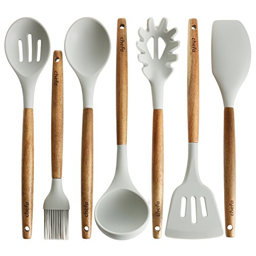 Silicone Cooking Utensils | Wooden Handle, Non-Stick Cookware Heat Resistant Kitchen Utensil Spatula, Slotted & Solid Spoon, Soup Ladle, Slotted Turner and Spaghetti Server,| Acacia Wood, GRAY