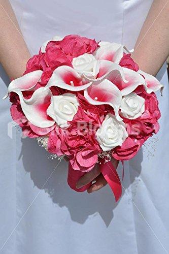 Bouquet Sposa Fucsia.Fucsia Rosa Vermeer Giglio Bianco Ortensia E Rose Bouquet