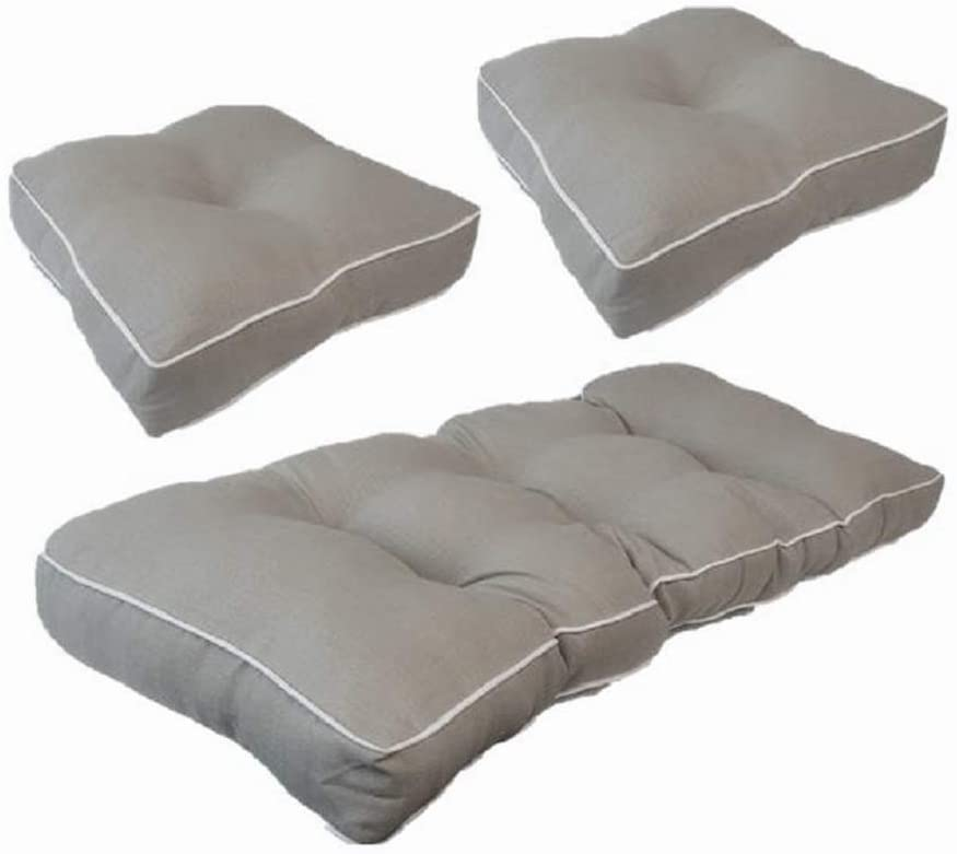 Suntastic Textured Outdoor Indoor Loveseat and Seat Cushion Set for Patio Furniture, Light Grey Set of 3