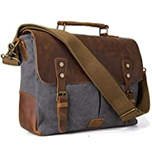 TIDING Men's Canvas Messenger Tote Bags Work Laptop Bag Leather Briefcase Cross Body Shoulder Bag For School