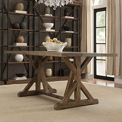 HomeHills Ellary Rustic Pine Concrete Strip Trestle Base Dining Table