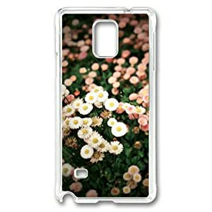 Armener Transparent Sides Hard Shell Skin Protector Cover Case for Samsung Galaxy Note 4 With Little White and Pink Chrysanthemum