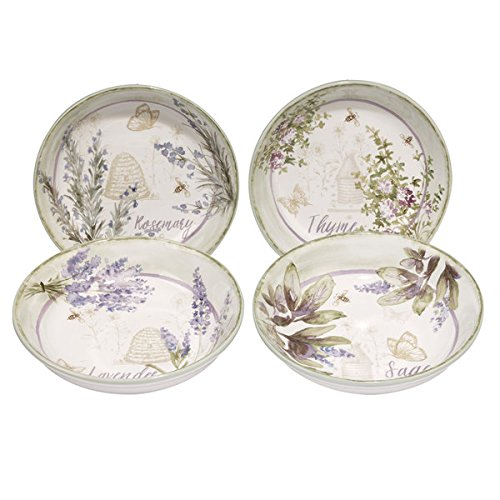 Herbes de Provence Ceramic 9.25-inch x 2-inch Assorted Soup/Pasta Bowl (Pack of 4) (Soup Provence Bowl)