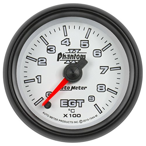 AutoMeter 7544-M Phantom II Electric Pyrometer Gauge Kit; 2-1/16 in.; White Dial Face; Fluorescent Red Pointer; White LED Lighting; Electric Digital Stepper Motor; 0-900 Degree (Autometer Phantom Pyrometer)
