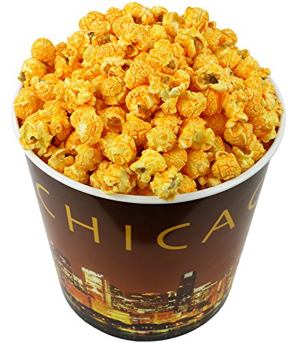 1 Gallon Popcorn Tin - Signature Popcorn - Gourmet Cheddar Cheese Flavor - 1-Gallon Gold Chicago Skyline Reusable Plastic Tin - Delicious Snack