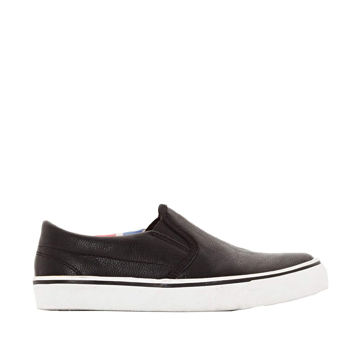 La Redoute Abcd'r Low Top Faux Grained Leather Plimsolls Black Size 29