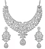 Touchstone Hollywood Glamour pretty filigree white Rhinestone studded diamond look designer bridal jewelry hasli necklace set for women in silver tone