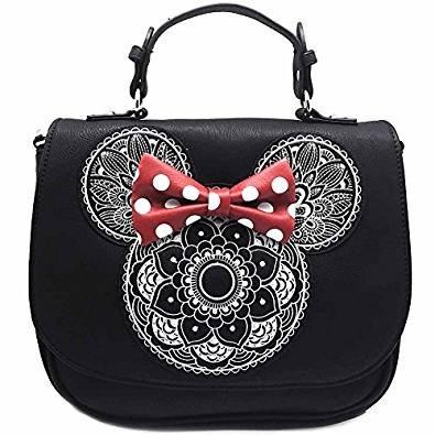 22d335771aed8 Loungefly Schultertasche Tasche Disney Handtasche Minnie Mouse schwarz mit  Schleife und Mandala