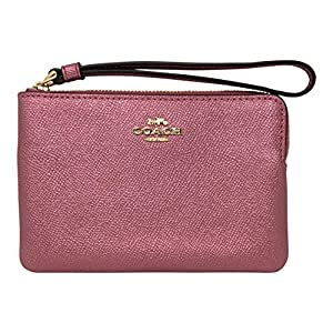 Coach Crossgrain Leather Metallic Corner Zip Wristlet