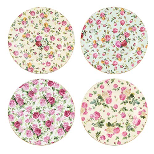 Gracie China Rose Chintz Porcelain 8-Inch Dessert Plate Set of 4, Assorted Four Designs ()