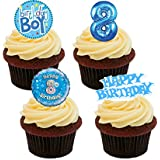 8th Birthday Boy Edible Cupcake Toppers, Blue - Stand-up Wafer Cake Decorations by Made4You
