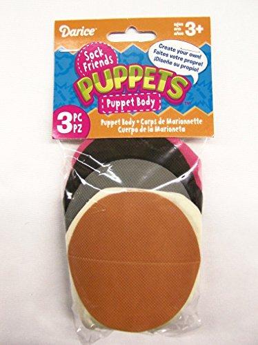 Darice SP201D 3-Piece Sock Puppet Blanks Craft Supplies, Cream, Black and Fuchsia