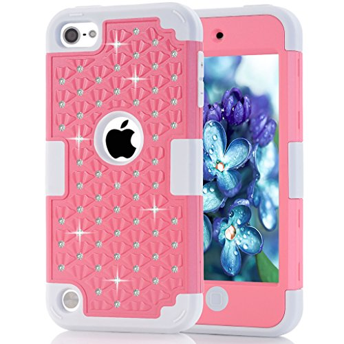 iPod touch 5 Case, iPod touch 6 Case, HOcase Rhinestone-Studded Bling Series, Dual Layer of Hard PC and Soft Silicone Protective Case for iPod touch 5th & 6th Gen - Light Pink+Grey