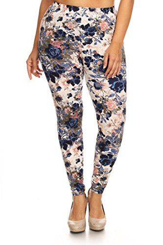 NioBe Women's Plus Size Fashion Design Leggings (One Size, Floral Garden) (Floral Spandex Leggings)