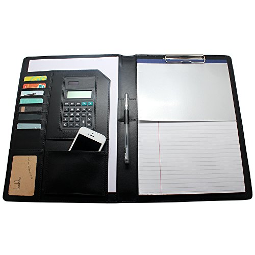 Boshiho Job Interview Executive Portfolio Padfolio Organizer PU Leather Documents Holder with Calculator Notepad and Pen Holder (A4)