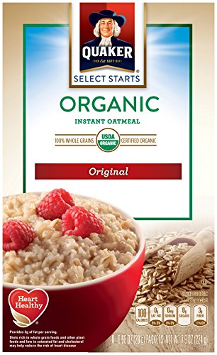 Quaker Instant Oatmeal, Organic, Original, Breakfast Cereal, 8 Packets Per Box (Pack of 6 - Oatmeal Original