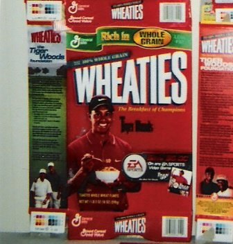 GM Wheaties 1999 flat 18 oz. cereal box - Tiger Woods (Tiger Woods Wheaties Box)