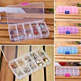 HANYI Hot Sale Storage Box Portable Organizer 10 Grids Adjustable Jewelry Beads Pills Nail Art Tips Earrings, Rings, Beads, Pills, Drug Medicine And Other Mini Goods Storage Box Case (Pink)