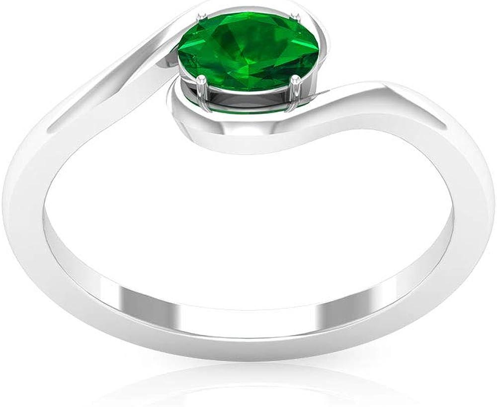 Anillo de oro esmeralda con forma ovalada de 0,52 ct, certificado SGL, anillo de novia de piedra natal solitario, anillo de vástago espiral, declaración de mujeres