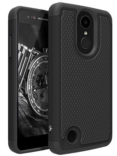 LG Aristo Case, LG Phoenix 3 Case, LG K8 2017 Case, LG Fortune Case, LG Risio 2 Case, LG Rebel 2 LTE Case, LK [Shock Absorption] Drop Protection Hybrid Armor Defender Protective Case Cover (Black) - Contour Leather Folio Case