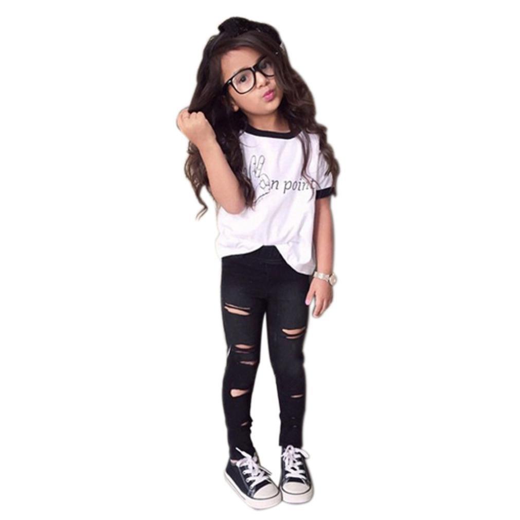 FEITONG 1Set Kid Girls' Print T-Shirt Tops+Long Pants Trousers Suit Outfit kids girls dress