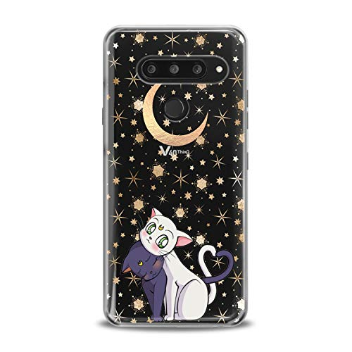 (Lex Altern TPU Case for LG G8 Stylo 4 K11 G7 ThinQ G6 V40 V35 V50 K8 Cute Black Cats Clear Kawaii Animal Cover White Kitten Silicone Adorable Protective Themed Transparent Kids Girl Present Women)