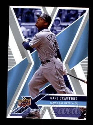 Carl Crawford Bay Tampa - 2008 Upper Deck X # 93 Carl Crawford Tampa Bay Rays (Baseball Card) Dean's Cards 8 - NM/MT Rays