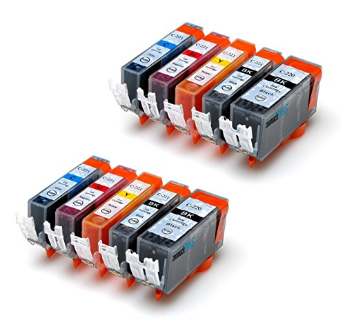 Zonmack Inks (TM) Compatible Ink Cartridge Replacement for Canon PGI-220 & CLI-221 10 Pack for Canon PIXMA Inkjet Printers iP4600 iP4700 MP550 MP560 MP620 MP630 MP640 MP980 MX870 iP4600 iP4700 MX870
