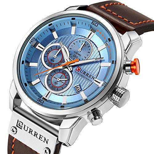 Mens Watches Military Chronograph Large Face Designer Dress Waterproof Sport Wrist Watch Business Analogue Brown Leather Watches for Men – Blue