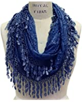 Scarfand's Feminine Lace Infinity Scarf with Teardrop Fringes
