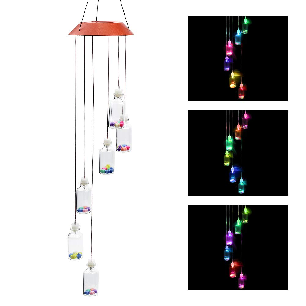 locisne Solar Wind Chimes LED Color Changing Mobile Wishing Bottles Wind Chime Waterproof Hanging Lamp Outdoor Indoor Windlights for Home, Party, Night, Garden Decoration