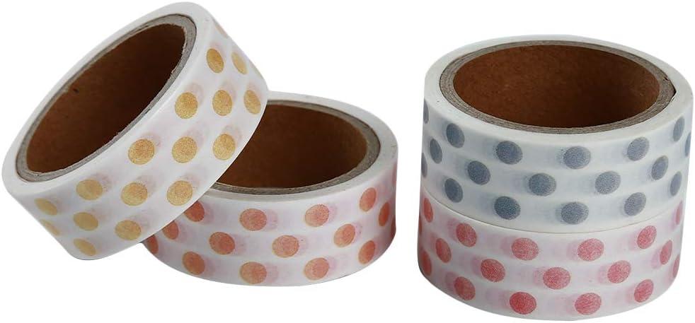 LANWF 4 pcs Striped//Grid//Dot Paper Tape Adhesive Tape DIY Scrapbooking Sticker Label Masking Tape,3#