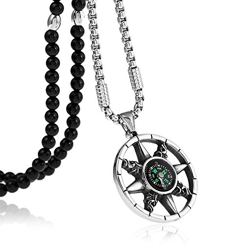- Stainless Steel Compass Adventure Survival Tool Pendants Necklaces with Agate Stone Chain 26