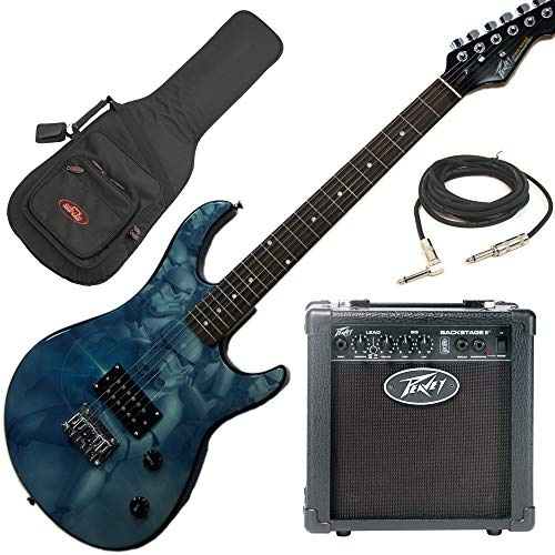 Peavey Star Wars Stormtrooper Rockmaster Electric Guitar Beginner Package with Peavey Backstage Transtube Guitar Amp, electric guitar gig bag, 15 foot guitar cable