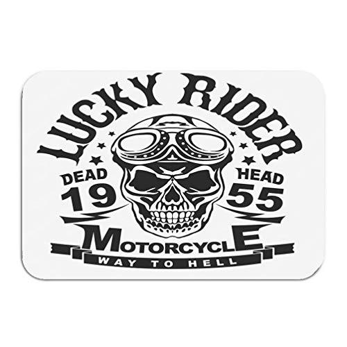 YGUII Outside Shoe Non-Slip Color Dot Doormat Motorcycle Skull Rider Helmet Goggles Racer Emblem Biker Vintage Apparel Print Mats Entrance Rugs Carpet 16X23.6in (40x60cm) ()