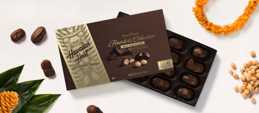 Founder's Collection Milk Chocolate, 6pk - 8OZ (226g) 16 Pieces by Hawaiian Host