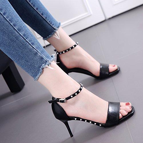 El remache está muy bien con sandalias son mujeres Negro Todo-Fósforo Palabra zapatos de la hebilla Black