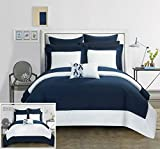 Chic Home 10 Piece Charlene MODERN TWO TONE REVERSIBLE HOTEL COLLECTION Queen Bed In a Bag Comforter Set Navy With sheetset