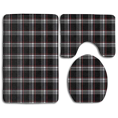 Gti Cat - deer sky Bathroom Rug Mats Set 3 Piece Golf GTI Plaid Extra Soft Bath Rugs (20