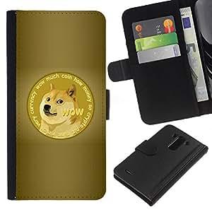 """JackGot ( Gracioso - Doge Wow Mucho impresionante Shiba"""" ) LG G3 la tarjeta de Crédito Slots PU Funda de cuero Monedero caso cubierta de piel"""