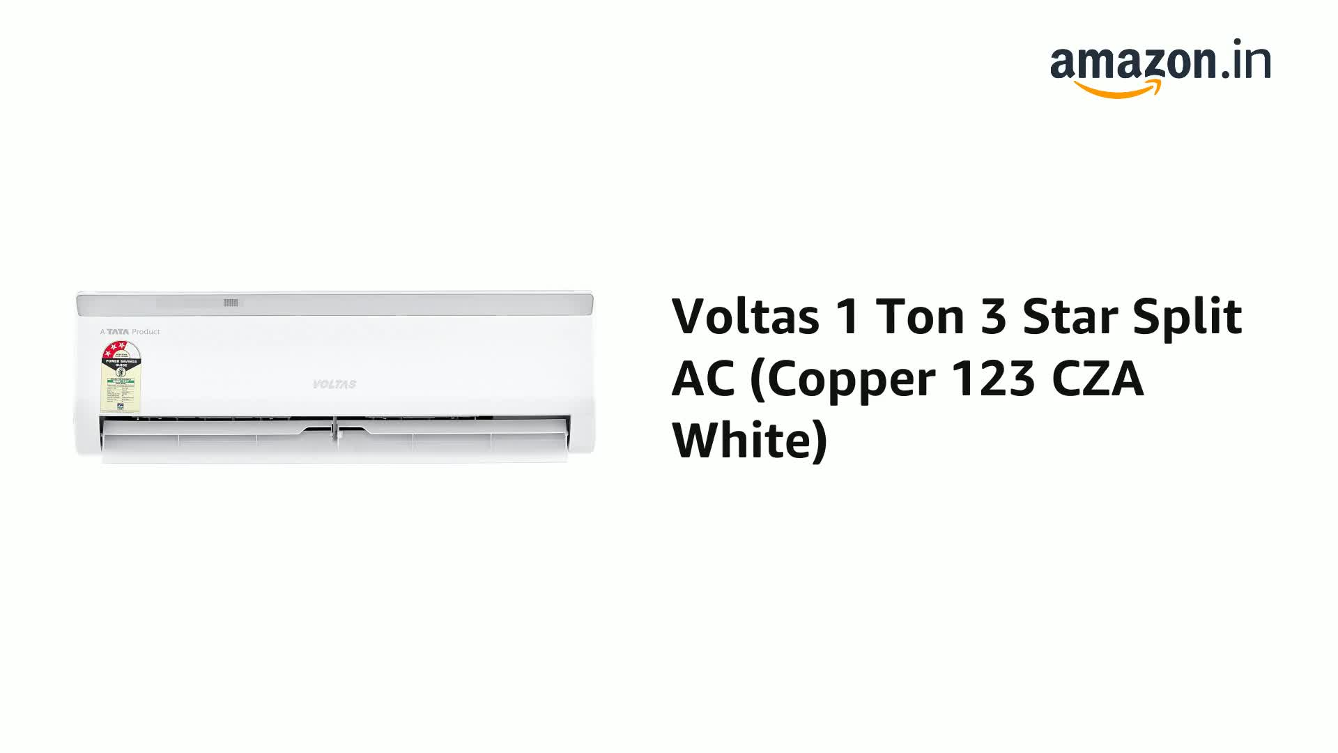 Voltas 1 Ton 3 Star Split AC (Copper 123 CZA White)