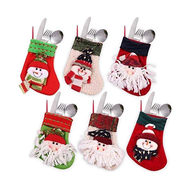 MMTX Calze di Natale Decorazioni Calzini Decor per Camino Set 6 Decorazioni Natalizie Camino da Appendere Candy Sacchetti Regalo per Albero di Natale Festa di Natale Decorazioni 5 spesavip