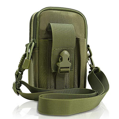Tactical Molle Pouch EDC Men Belt Waist bag Utility Gadget Gear Tool Organizer Pocket with Cell Phone Holster Holder for for iPhone 6s/7/X Samsung S8 Pixel Moto Z Force Play (Green-Large-1 Pack)