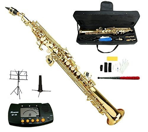Merano B Flat Gold Brass Soprano Saxophone,Case,Mouth Pie...