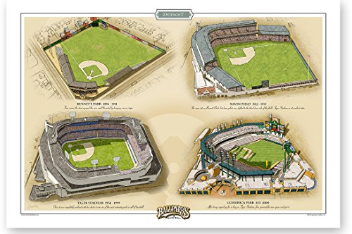 (Ballparks of Baseball Detroit 13x19 Print by Jeff Suntala)