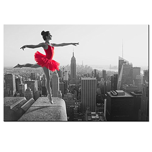 Sea Charm - Empire State Building Wall Art,Red and Black Ballet Dancer Canvas Prints,Elegant Woman Pictures for Wall Decal,Framed Art for Modern Home Bedroom Decoration